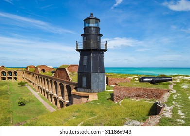Rusting lighthouse atop Fort Jefferson. Dry Tortugas National Park, Florida.