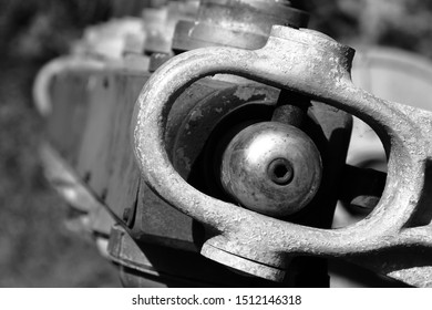 A rusting machine with flaking paint