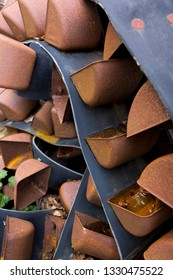 Rusting metal cups from a discarded agricultural farm conveyor machine