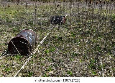 Rusting and rotting 55 gallon steel chemical drums in an wooded area.