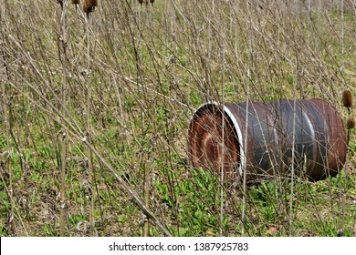 Rusting and rotting 55 gallon steel chemical drum in an wooded area in spring.