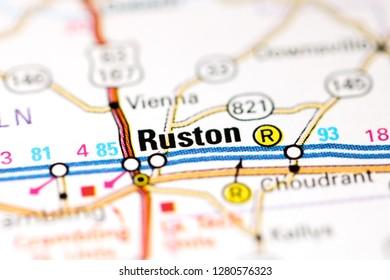 Ruston. Louisiana. USA on a map