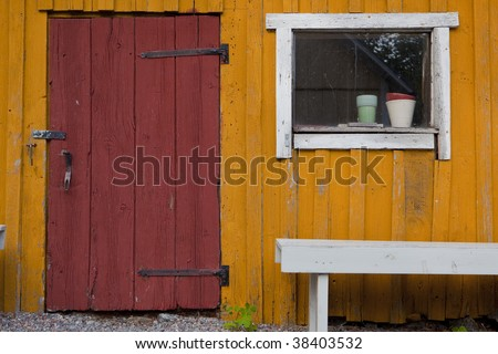 Rustred Door On Golden Yellow Barn Stock Photo Edit Now 38403532
