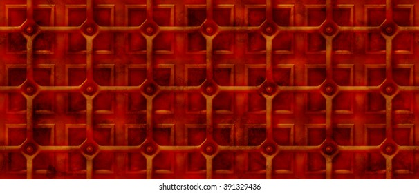 rusty 3d steampunk background with a grid over square shapes (seamless)