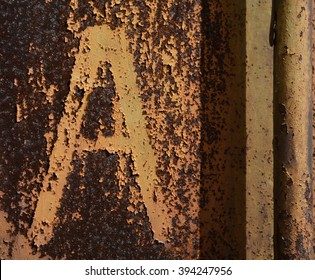 A rusty background texture with letter A
