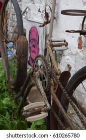 rusty bike upside down