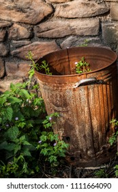 A rusty bin with weeds growing in it in front of a stone wall