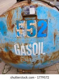 Rusty, blue gasoil tank