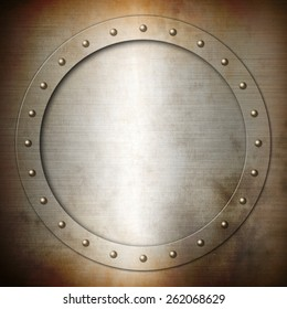 Rusty brushed Steel round frame background texture wallpaper