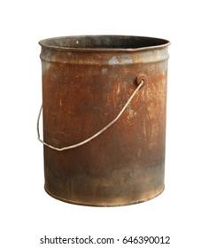 Rusty bucket isolated on white background