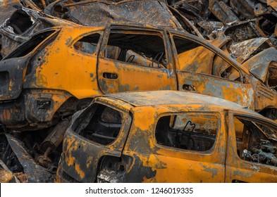 Rusty car wrecks