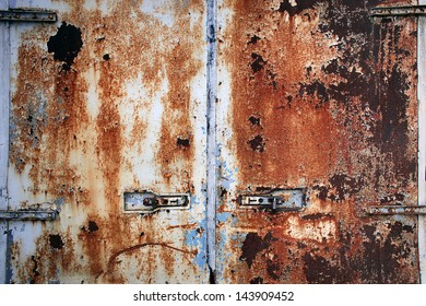 Rusty cargo container doors closeup