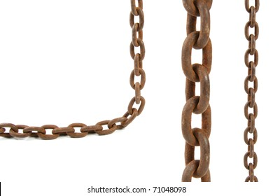 rusty chain elements isolated on white background