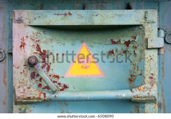 Rusty door on Chernobyl atomic station