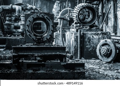 Rusty equipment of abandoned ex Soviet fuel factory.
