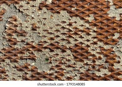 rusty eroded vintage old diamond plate deep texture metal