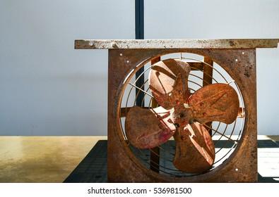 Rusty fan on the table
