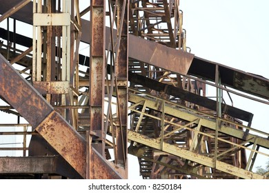 Rusty framework of an abandoned industrial facility