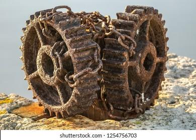 rusty gear whell detail