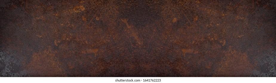 Rusty grunge dark metal texture background banner panorama