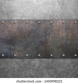 Rusty grunge iron texture, old steel background with rivets