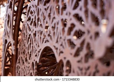 Rusty intricate decoration, selective focus