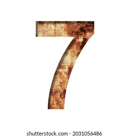 Rusty iron digits. Digit seven, 7 cut out of paper on the background of an old rusty iron sheet with rust stains and cracks. Decorative alphabet, font collection.