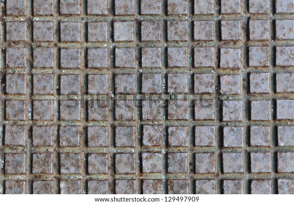 rusty iron texture with square pattern