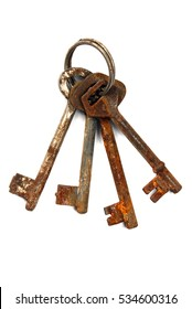 Rusty keys. Isolated on white background.