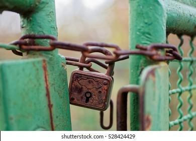 Rusty lock keeping a fence closed