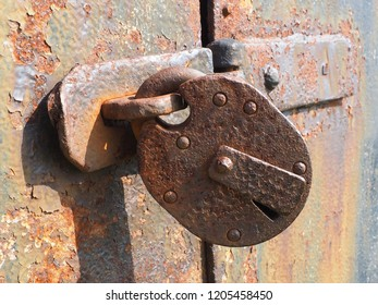 rusty lock in the sun