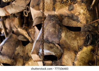 Rusty mask iron cupper bronce sculpture