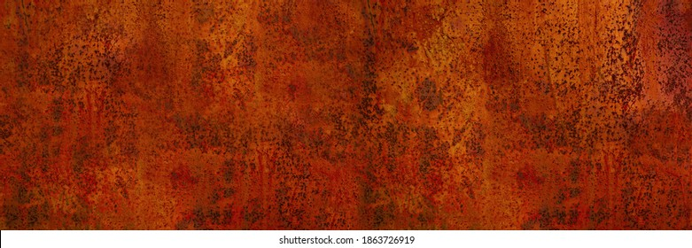 Rusty metal background. Rust texture. Orange red brown abstract background. Bright rough textured background. Wide banner. - Shutterstock ID 1863726919