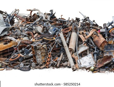 Rusty metal car parts isolated on the white background