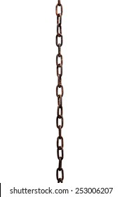 Rusty metal chain on white background