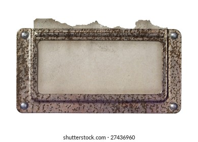 Rusty metal frame with old paper label - free text o. picture space,isolated on white background