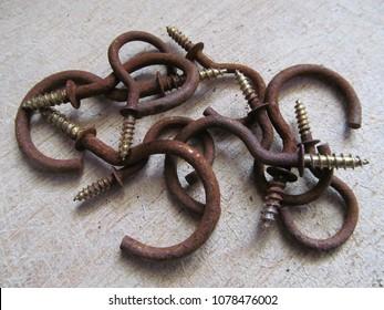 Rusty metal hooks