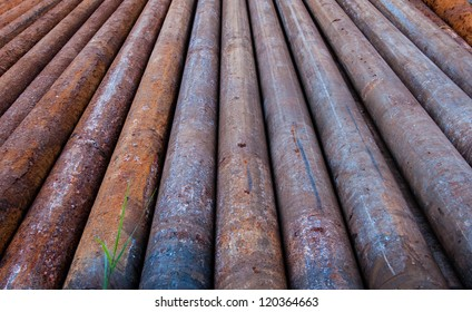 Rusty metal pipes at a Refinery