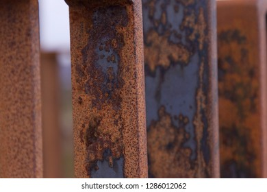 Rusty metal railing abstract