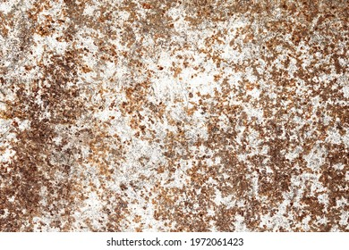 Rusty metal texture. Corrosion background. White peeling paint. Grunge rust on metal. Cracked paint pattern. Corroded iron surface. Grainy metal texture. Scratched iron surface. Rusty noise background