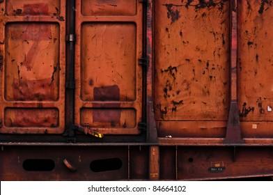 Rusty metal texture with doors