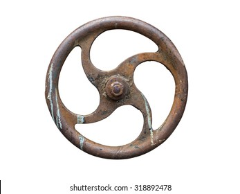 rusty metal valve,Industrial Valve Wheel,rusty valve isolated on white background
