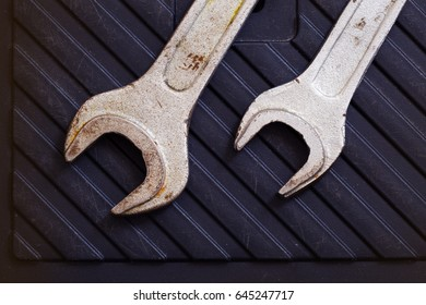 Rusty metal wrenches. Art background shooting