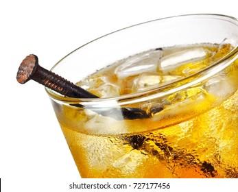 Rusty nail cocktail, close up