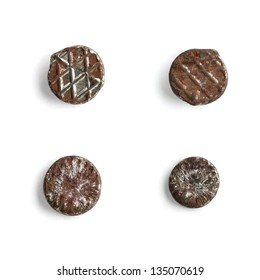 Rusty nail head set isolated on white background