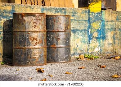 Rusty oil barrel in Abandoned factory