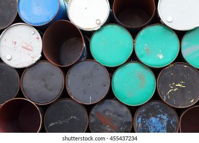 rusty oil barrels background.