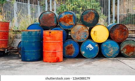 Rusty oil barrels drums