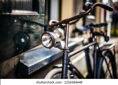 Rusty old bicycle with original details and traditional design in an atmospheric scene