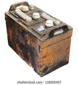 Rusty old car battery isolated on a white background
